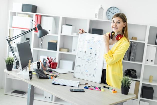Молодая девушка стоит возле стола и держит в руках маркер и магнитную доску. на шее у девушки висят наушники.