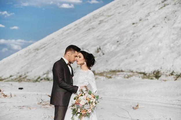 젊은 잘 생긴 신랑과 세련된 신부 배경에서 아름다운 풍경과 야외 포옹