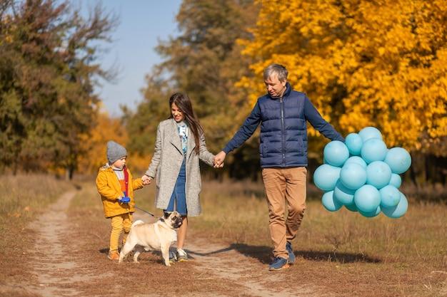 Молодая счастливая семья с маленьким ребенком и собакой будет вместе гулять по осеннему парку.