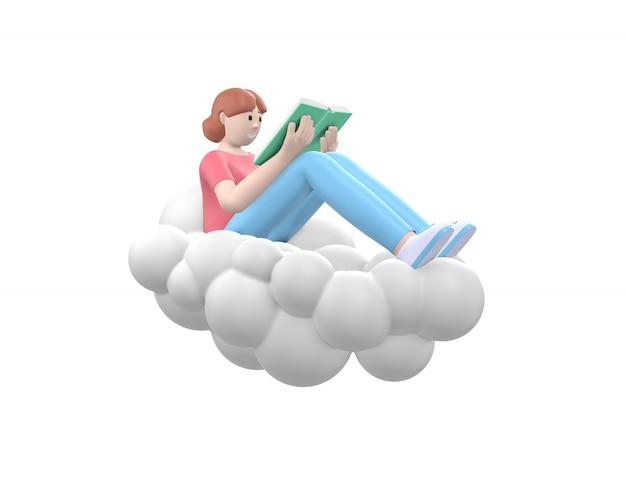 Молодая счастливая девушка в небе на облаке читает книгу