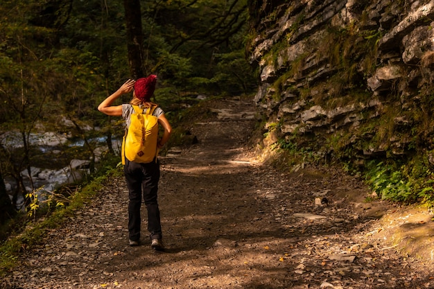 ラローのホルツァルテ吊橋への道を歩く若いハイカー。ピレネー・アトランティックスのイラティの森やジャングルで