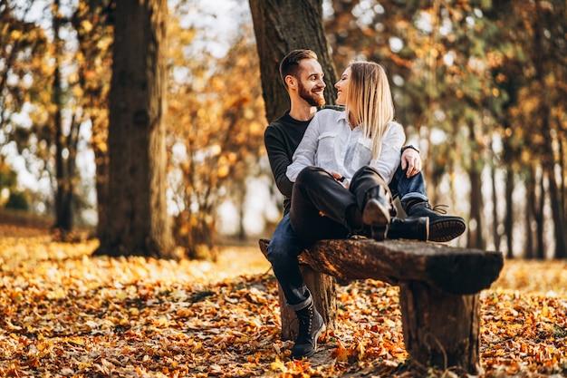 森の中の木製のベンチに座っている若い夫婦。男と女を抱き締めると秋の木々の背景に笑みを浮かべて