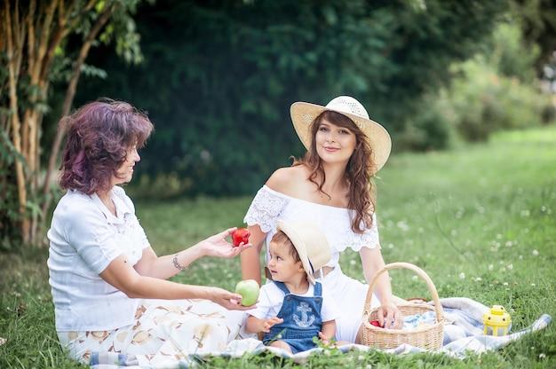 젊은 어머니, 할머니, 작은 아들이 공터에서 놀고 있습니다. 피크닉. 봄. 여름. 열. 가족이 풀밭에 앉아 있습니다.