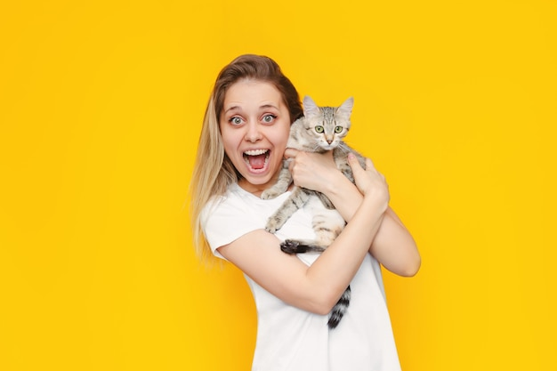 그녀의 손에 고양이와 흰색 티셔츠에 젊은 예쁜 백인 감동 웃는 금발의 여자는 밝은 색상의 노란색 벽에 고립 된 뉴스에 대해 행복합니다