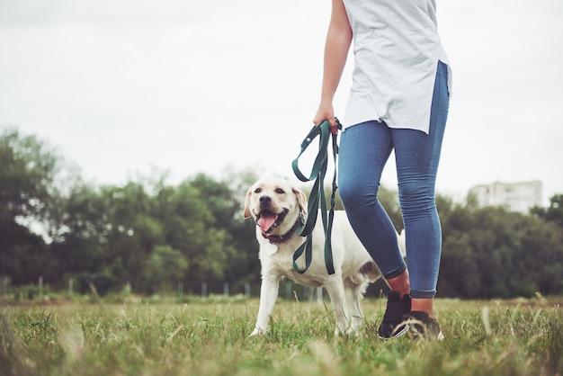 Молодая улыбающаяся девушка со счастливым счастливым выражением лица играет со своей любимой собакой.