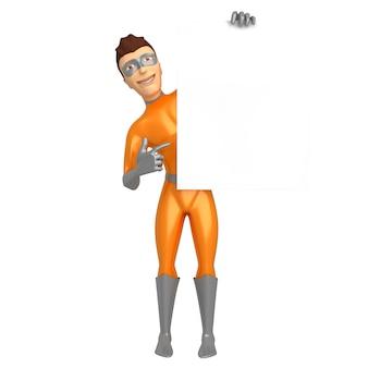 スーパーヒーローの衣装を着た笑顔の若い男が手に持って、もう一方の手で空の看板を指しています。 3dイラスト