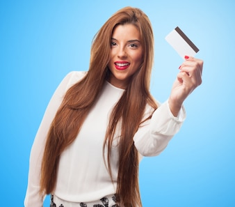 A young woman shopping with her credit card