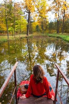 美しい晴れた日、暖かくて美しい秋に、若い女性が背を向けて湖の近くの橋の上に座っています。格子縞の毛布、古いカメラ。