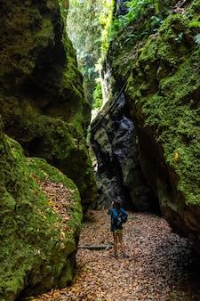 北東海岸のロスティノス自然公園の峡谷を歩いている若い女性