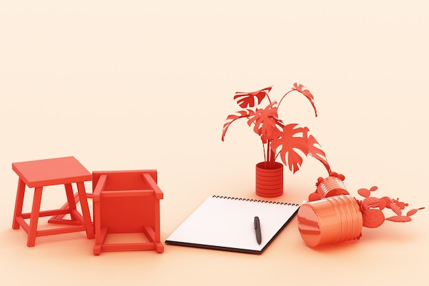A4 flipped paper with black clipboard, potted plant, cactus, frame and pen on pastel orange background. 3d rendering