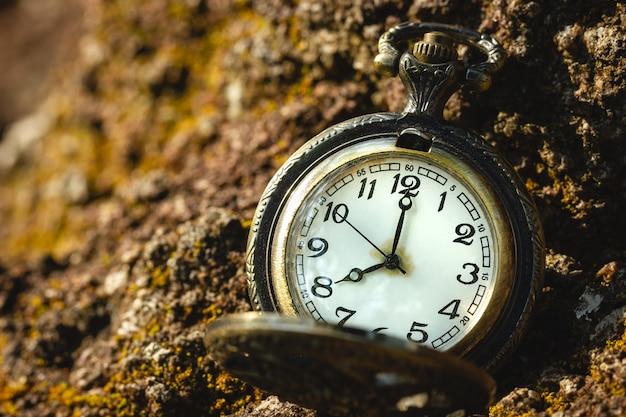 森と朝の日光の岩の上に置かれたヴィンテージの古い懐中時計。 a