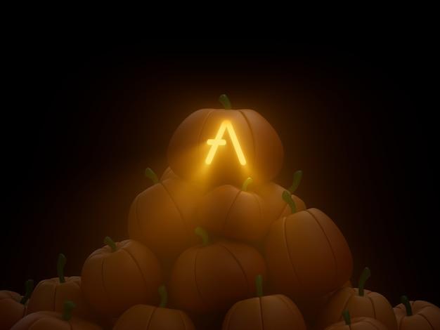 Aave 새겨진 호박 스택 더미 암호화 통화 3d 그림 렌더링 어두운 조명