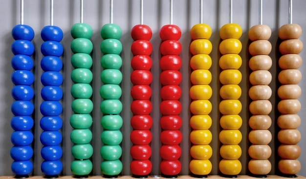 Abacus for counting practice on gray background