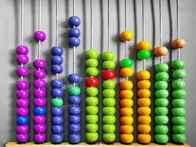 Abacus for kids practicing counting with colorful wooden beads