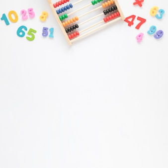 Abacus and numbers top view with copy space background