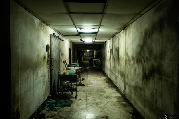 Abandoned alley in psychiatric hospital