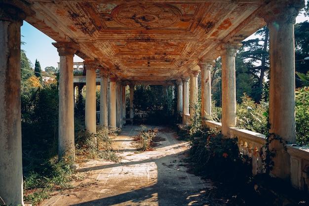 柱のある放棄された古代遺跡ガグラ、アブハジアの植物が生い茂った鉄道駅