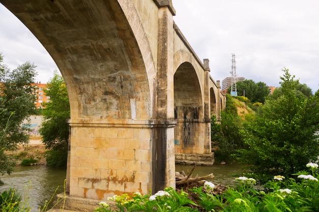 Abandoned bridge over tiron river in haro