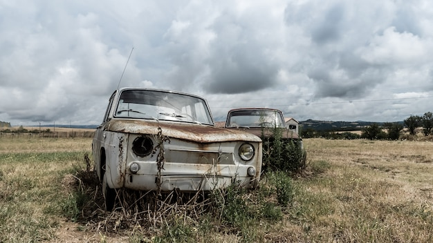 Abandoned cars in the countryside