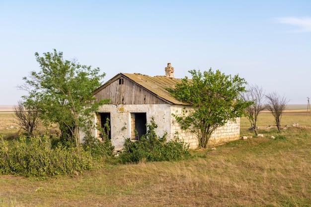 Abandoned destroyed houses. abandoned villages in crimea.