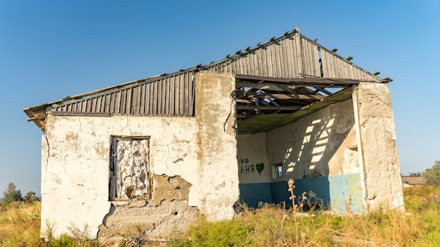 Abandoned house on the beach, blagoveshenskaya. anapa, russia.