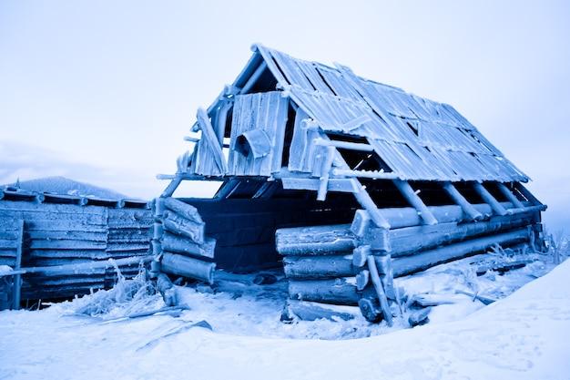 冬の森と冬の雪の背景に霜で覆われた廃屋。冬のワンダーランド自然コンセプトの風景