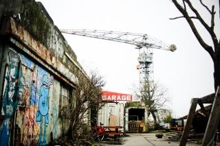 Abandoned industrial dockyard