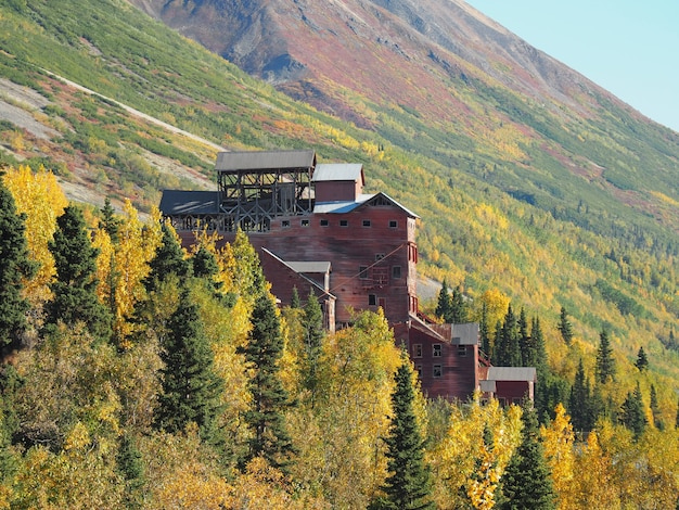 An abandoned kennecott copper mine with mountains