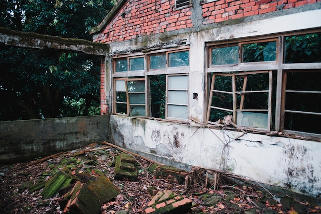 Abandoned old building with destroyed windows in the forest