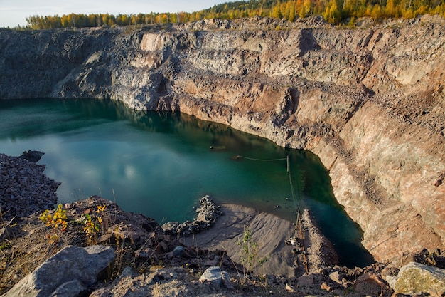 Abandoned quarry for mining.