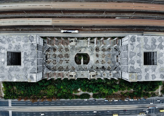 Abandoned railway station viet from the drone