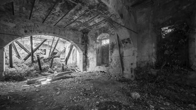 Abandoned and ruined building