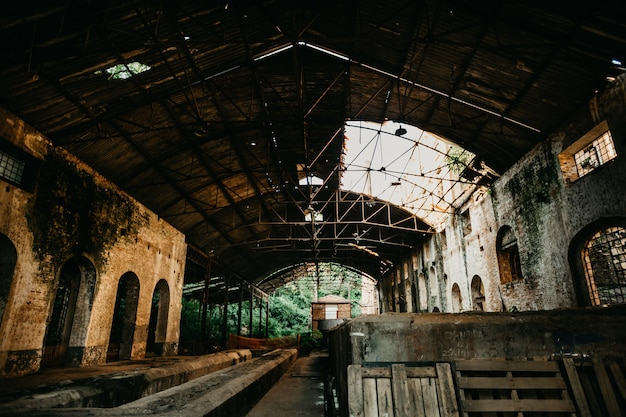 Abandoned ruined industrial warehouse
