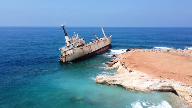 Abandoned ship near cyprus beach rusty ship ran aground near the shore