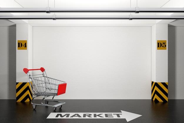 床の極端なクローズアップに矢印とマーケットサインが付いた地下駐車場の放棄されたショッピングカート。 3dレンダリング。