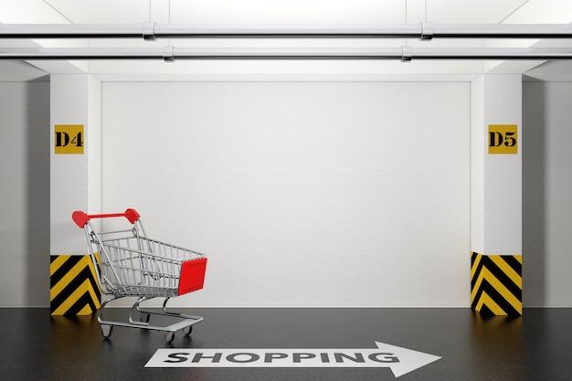 床の極端なクローズアップに矢印とショッピングサインが付いた地下駐車場の放棄されたショッピングカート。 3dレンダリング。