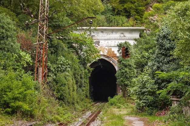 Abandoned tunnel in the city of gagra, abkhazia