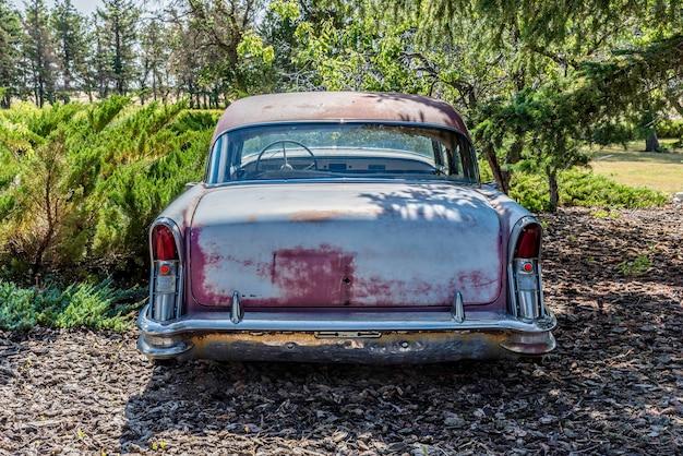 캐나다 서스캐처원 대초원의 나무로 둘러싸인 버려진 빈티지 자동차