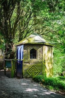 緑の森の中に放棄された木造家