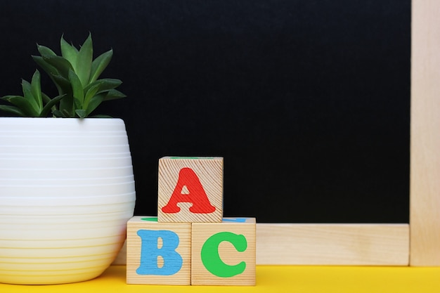 Abc blocks next to a blackboard and a potted houseplant