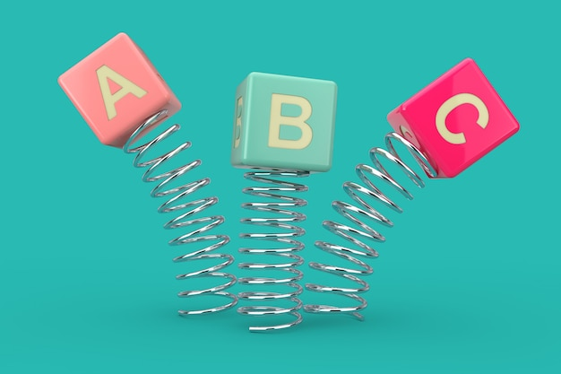Abc cubes jumping with spring on a blue background. 3d rendering