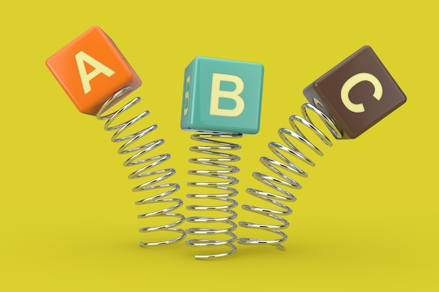 Abc cubes jumping with spring on a green background. 3d rendering