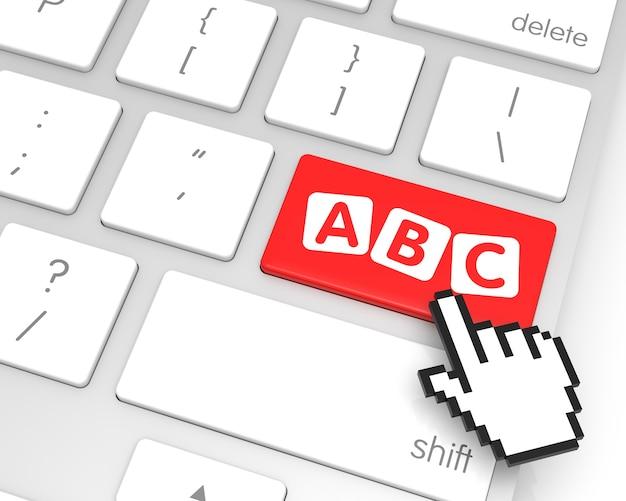 Клавиша ввода abc с курсором в виде руки. 3d рендеринг