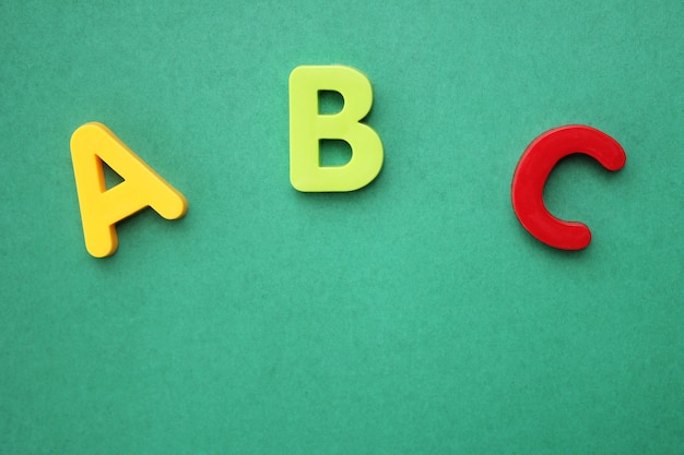 Abc first letter of the english alphabet on green background