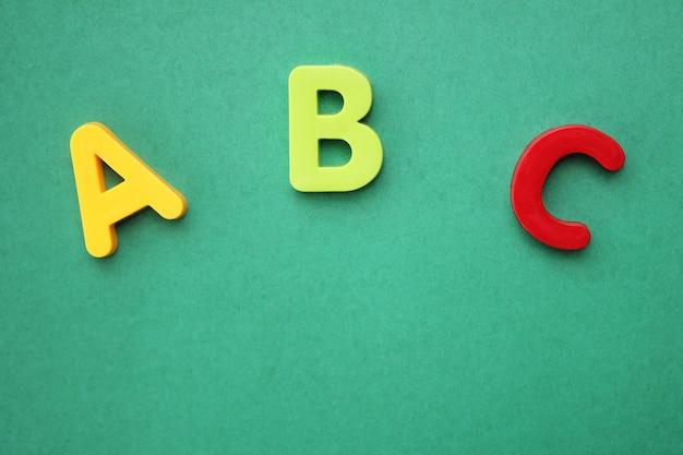 緑の背景に英語のアルファベットのabcの最初の文字