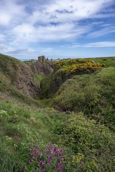 スコットランド、アバディーンシャー-2019年5月24日:ダノター城は、スコットランドの北東海岸の岩だらけの岬にある廃墟の中世の要塞です。