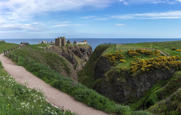 アバディーンシャー、スコットランド-2019年5月24日:ダノター城のパノラマ画像は、スコットランドの北東海岸の岩だらけの岬に位置する廃墟の中世の要塞です