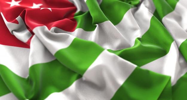 Abkhazia flag ruffled beautifully waving macro close-up shot