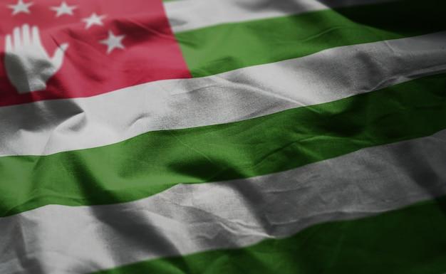 Abkhazia flag rumpled close up