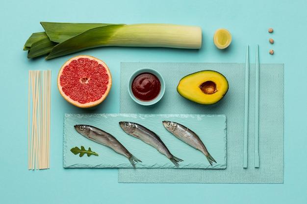 보기 위의 맛있는 flexitarian 다이어트 배열